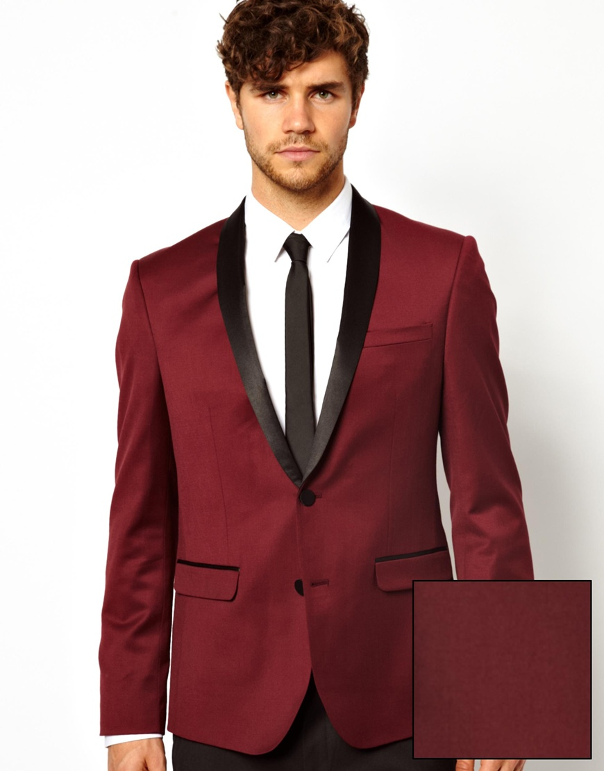 Asos Skinny Fit Tuxedo Jacket in Burgundy in Purple for Men | Lyst