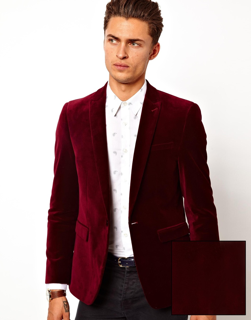ASOS Slim Fit Blazer In Velvet in Burgundy (Red) for Men ...