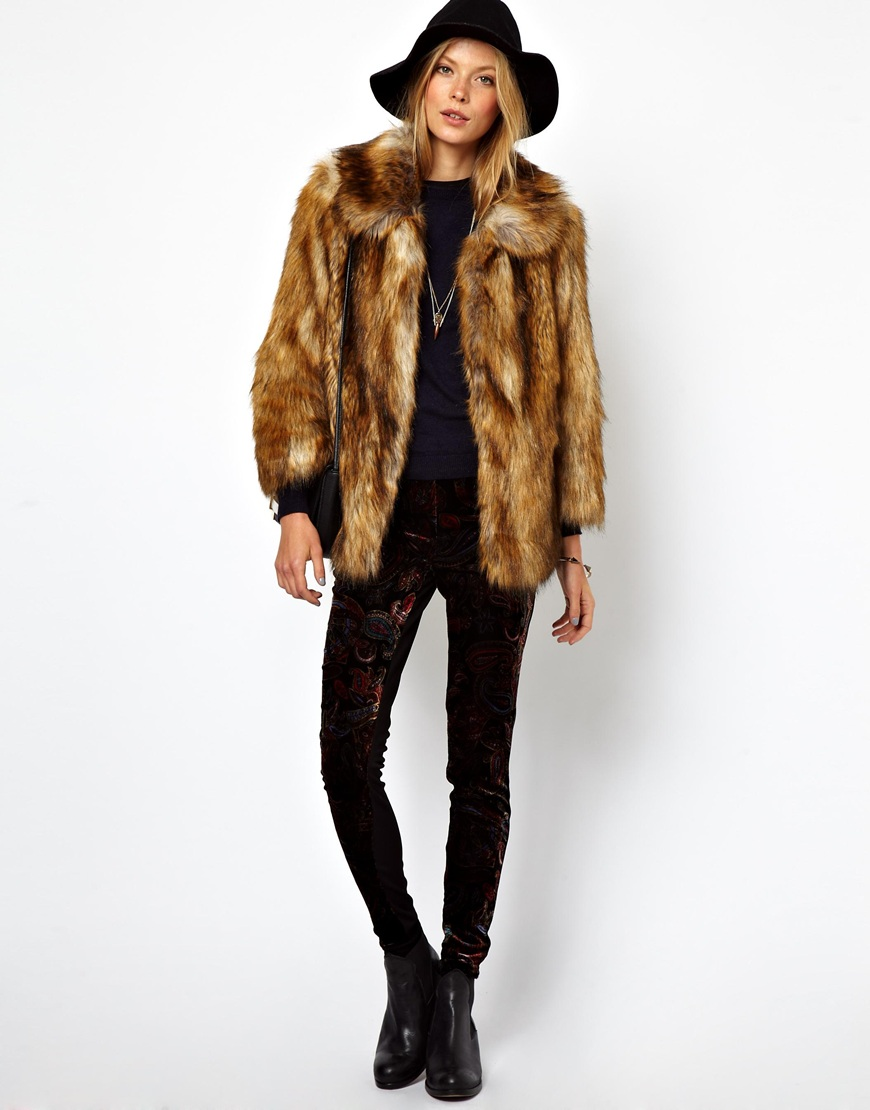 Lyst - Aq/Aq Asos Vintage Faux Fur Coat In Brown