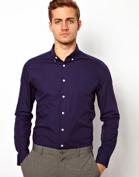 Asos Smart Shirt In Long Sleeve With Button Down Collar In