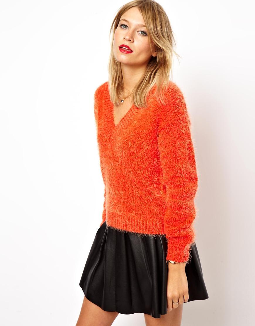 Asos Fluffy V neck Sweater in Orange   Lyst