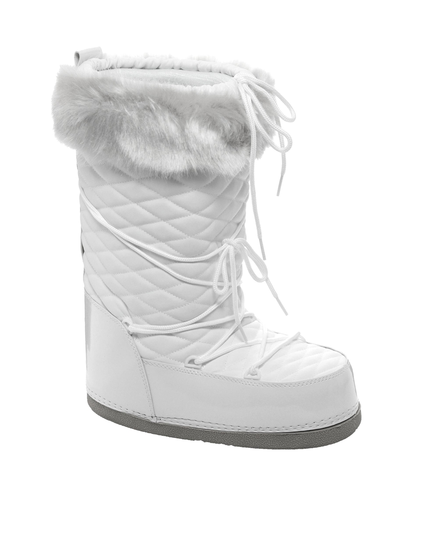 Asos Barts White Quilted Faux Fur Cuff Snow Boots Lyst