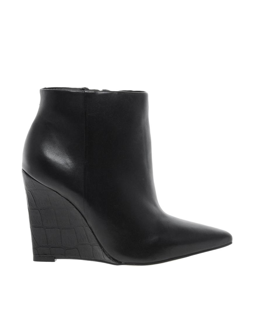 carvela kurt geiger leather slim wedge pointed ankle