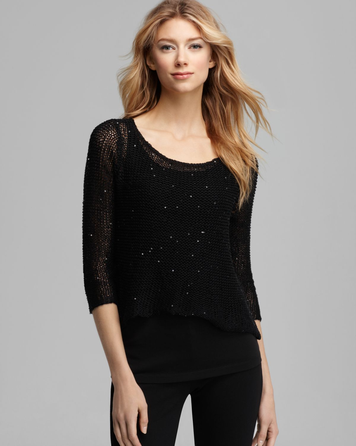 Eileen fisher Sequin Chainmail Knit Sweater in Black Lyst