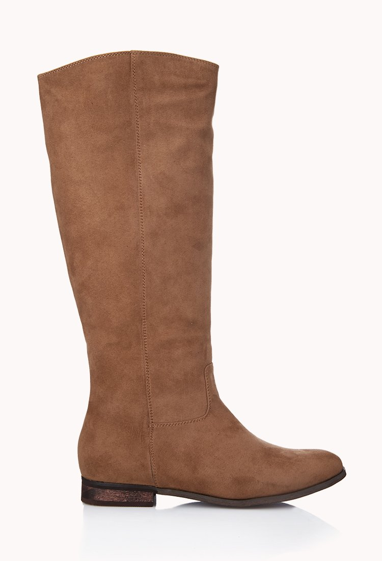 forever 21 classic faux suede boots in brown taupe lyst