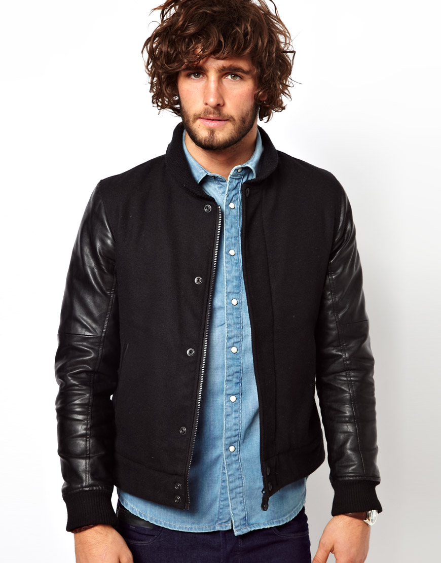 1888485c2 G-Star RAW Black Wool Bomber Jacket Winchester Wool for men