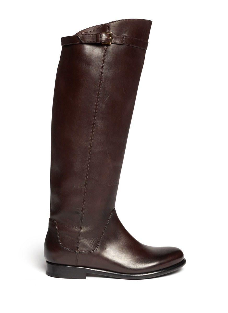 giorgio armani knee high flat boots in brown lyst
