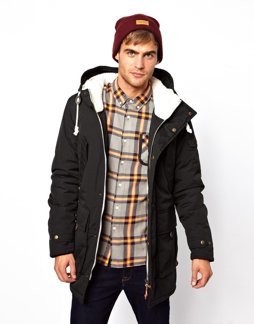 Native youth Parka Jacket with Borg Lining in Black for Men | Lyst