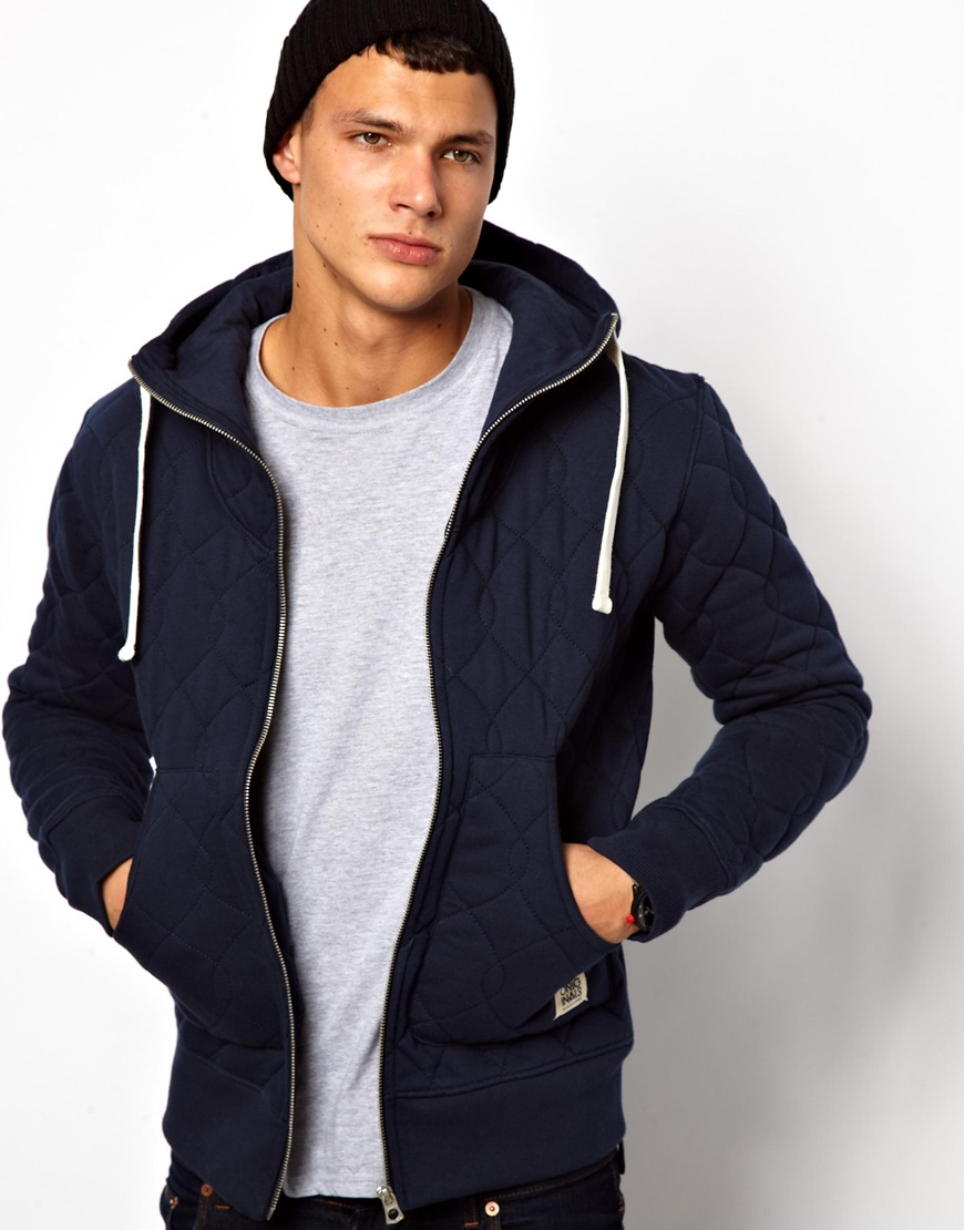asos jack jones sweat jacket in blue for men dressblue lyst. Black Bedroom Furniture Sets. Home Design Ideas