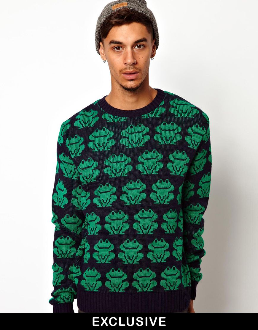 b294200ab60 Vans Green Reclaimed Vintage Sweater with Frog Print for men