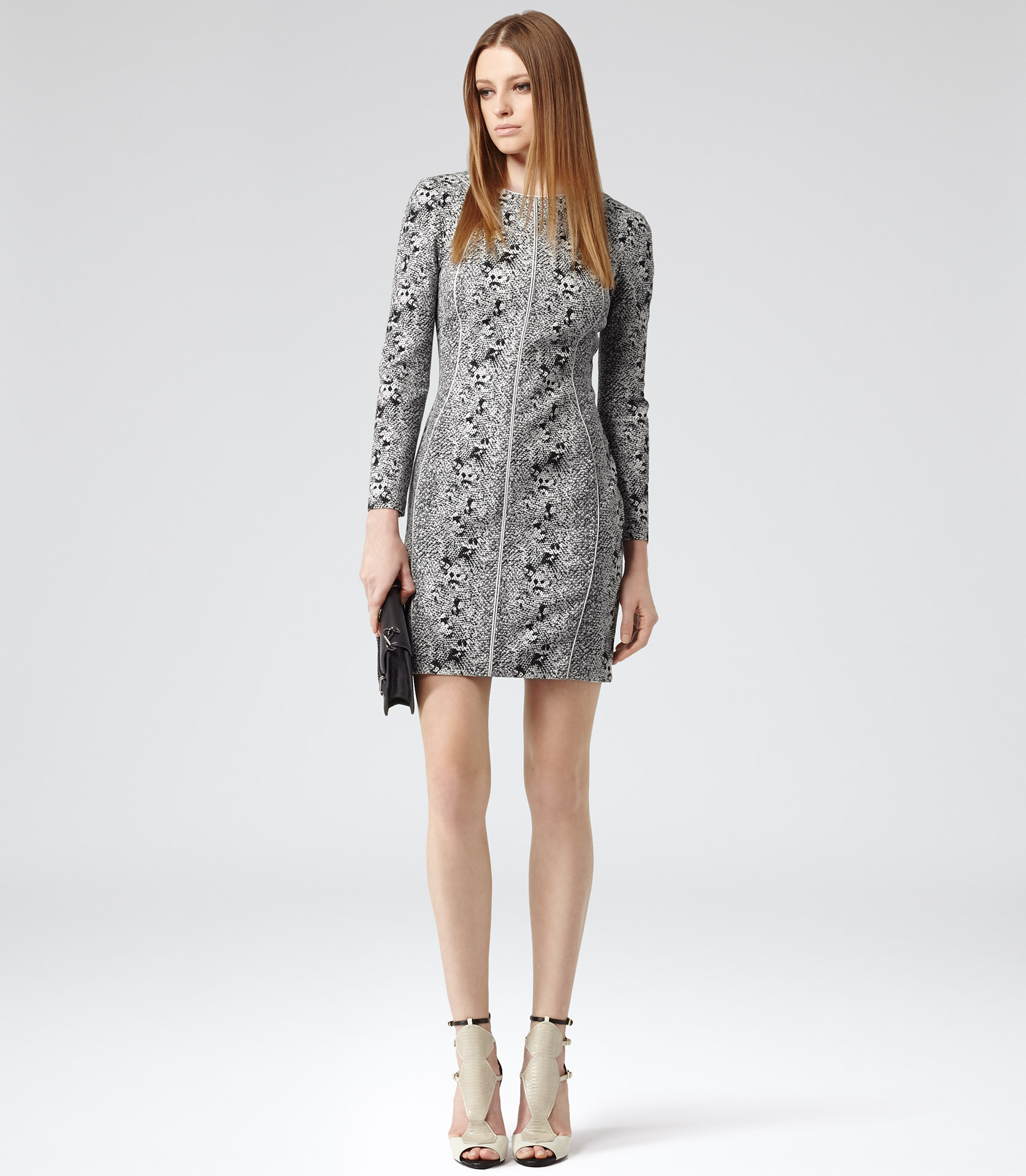 Lyst - Reiss Fion Snake Print Dress In Gray
