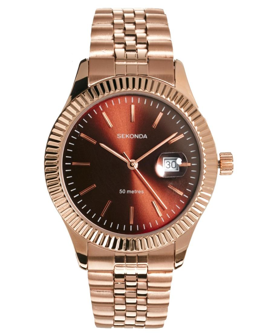 Lyst sekonda rose gold bracelet watch in pink for men for Sekonda watches