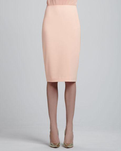 st crepe marocain lined pencil skirt in orange lyst