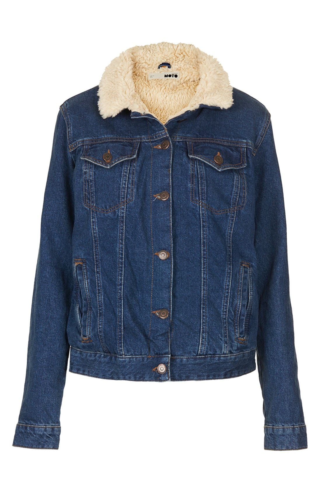 Topshop moto fleece lined denim jacket in blue lyst for Womens denim shirts topshop