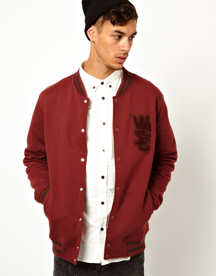 Wesc Sweat Jacket Warren Baseball in Red for Men | Lyst