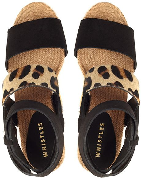 Whistles Espadrille Wedge In Animal Leopard Print Lyst