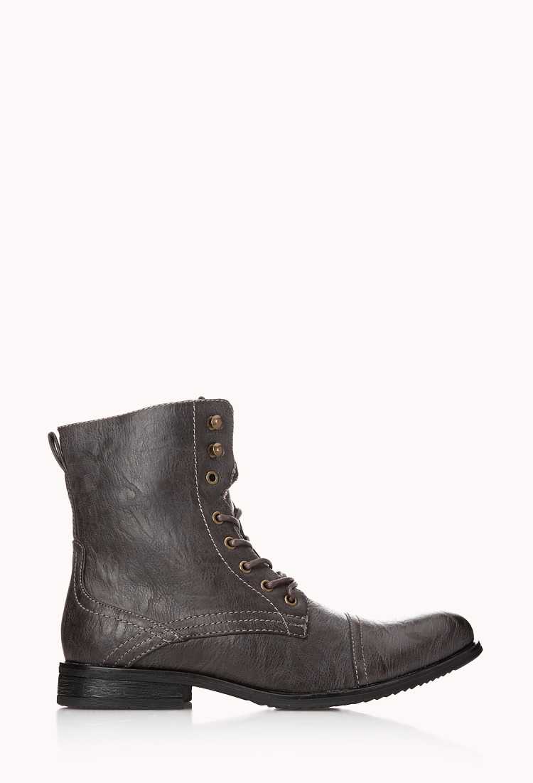 forever 21 distressed combat boots in brown for lyst