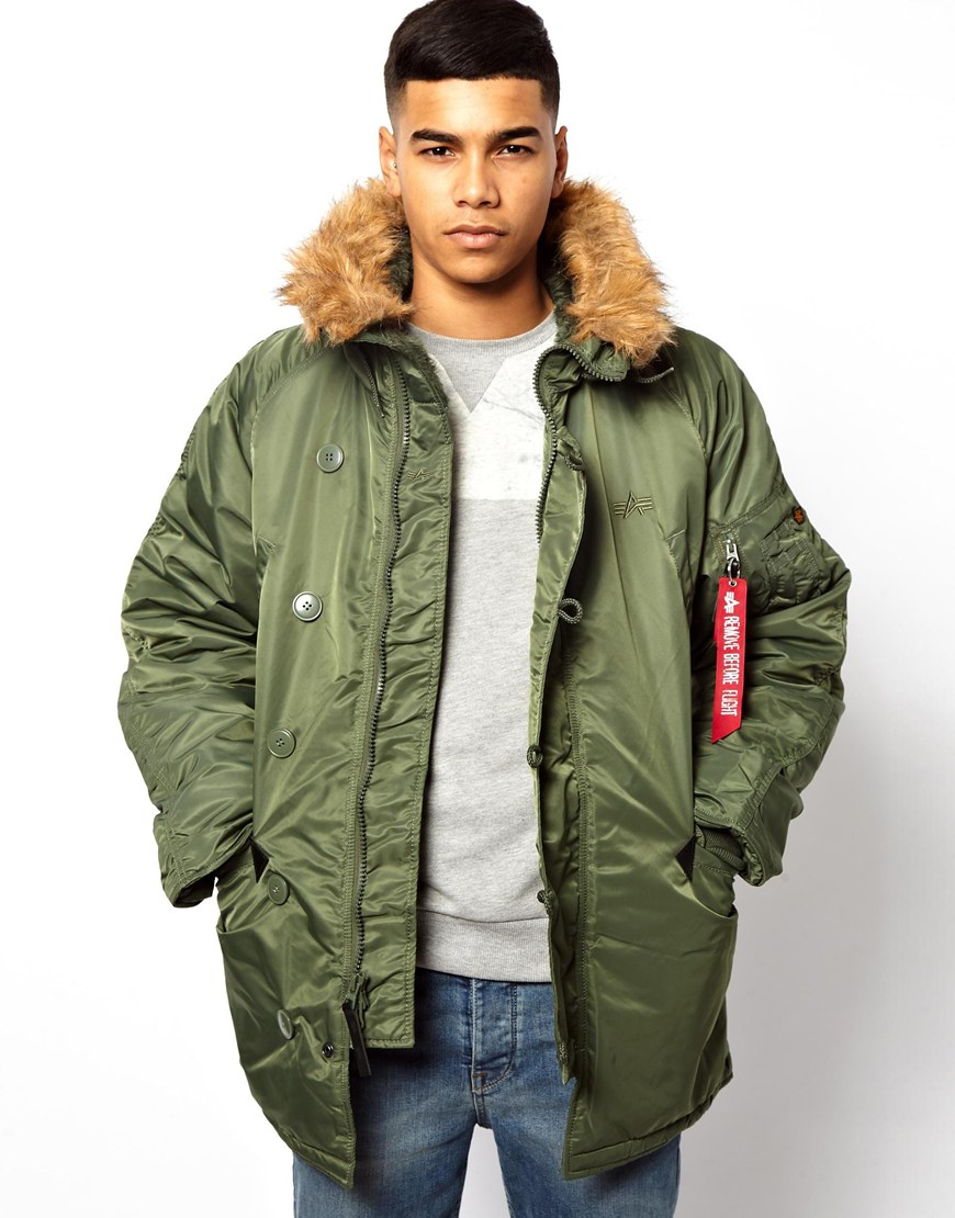 asos alpha industries n3b parka in green for men lyst. Black Bedroom Furniture Sets. Home Design Ideas