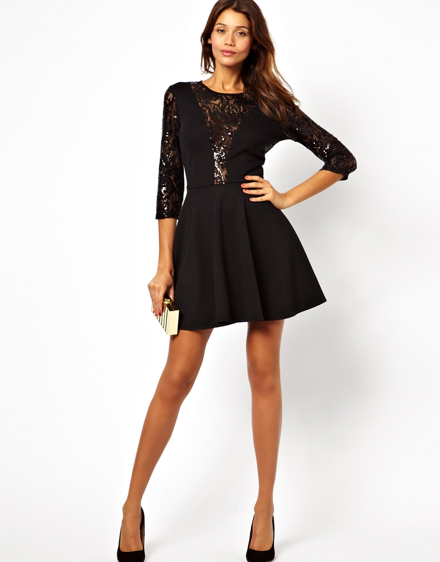 c343ea7f ASOS Sequin and Lace Skater Dress in Black - Lyst