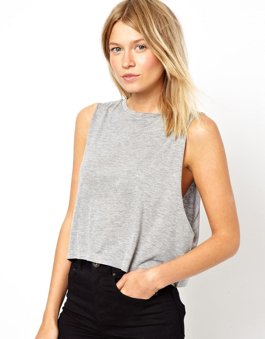 057d762ec96502 Lyst - ASOS Cropped Tank Top with High Neck in Gray