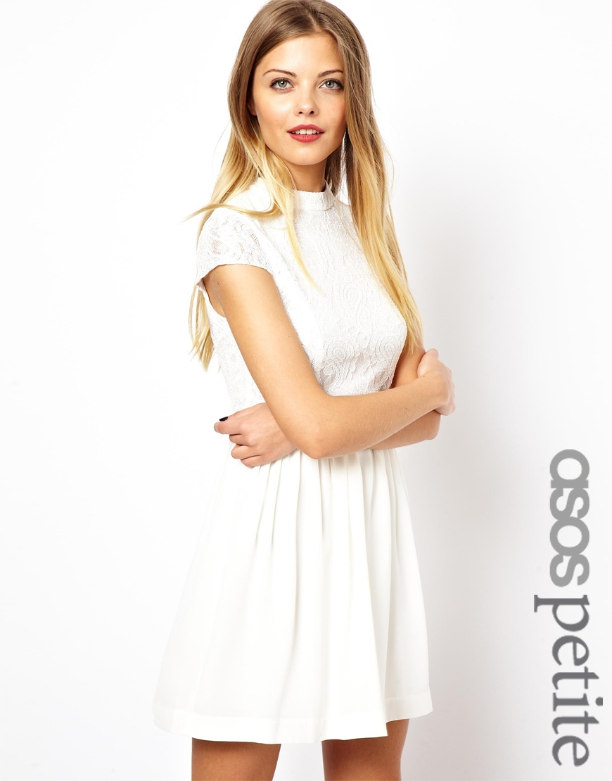 Exclusive Lace Skater Dress With High Neck