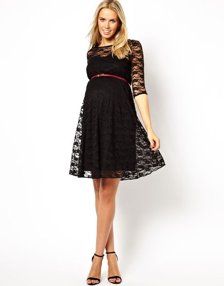 asos maternity lace skater dress with belt in black lyst