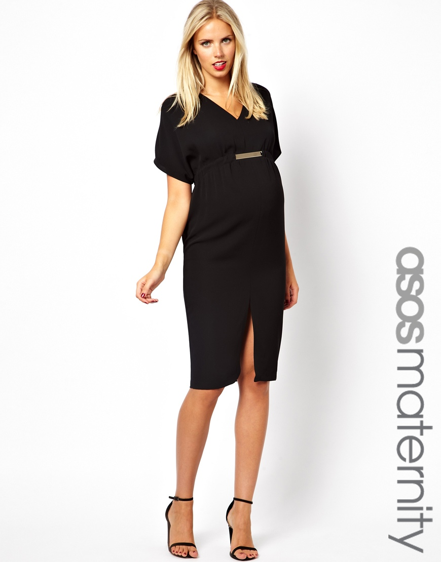 Asos black maternity dress choice image braidsmaid dress lyst asos v neck dress with gold tab in black gallery ombrellifo choice image ombrellifo Choice Image