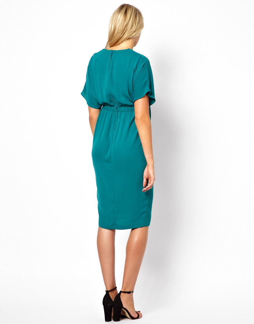 84e9590087 Lyst - ASOS V Neck Dress With Gold Tab in Blue