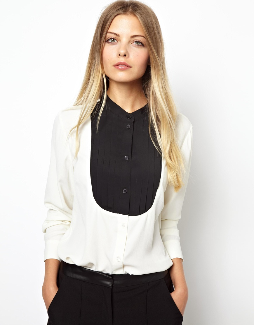 Lyst Asos Shirt With Grandad Collar And Pintuck Bib In White
