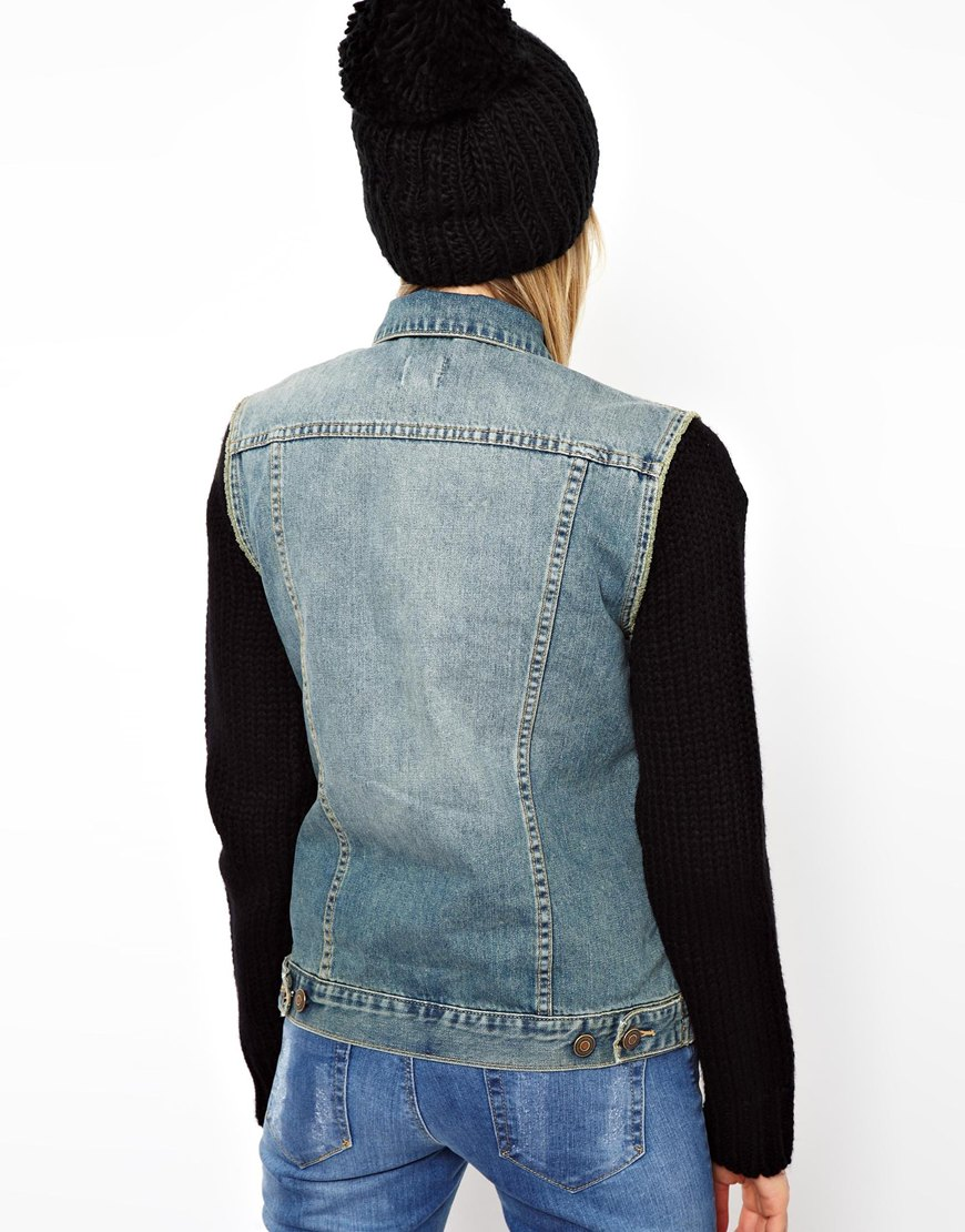 Denim Jacket Knitting Pattern : Asos Knitted Sleeve Denim Jacket in Vintage Wash in Blue Lyst