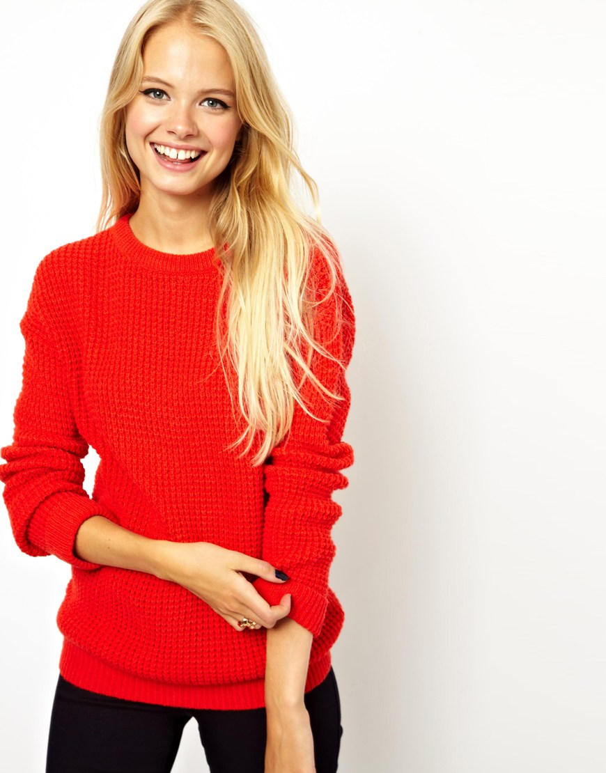 Asos Chunky Sweater in Red | Lyst