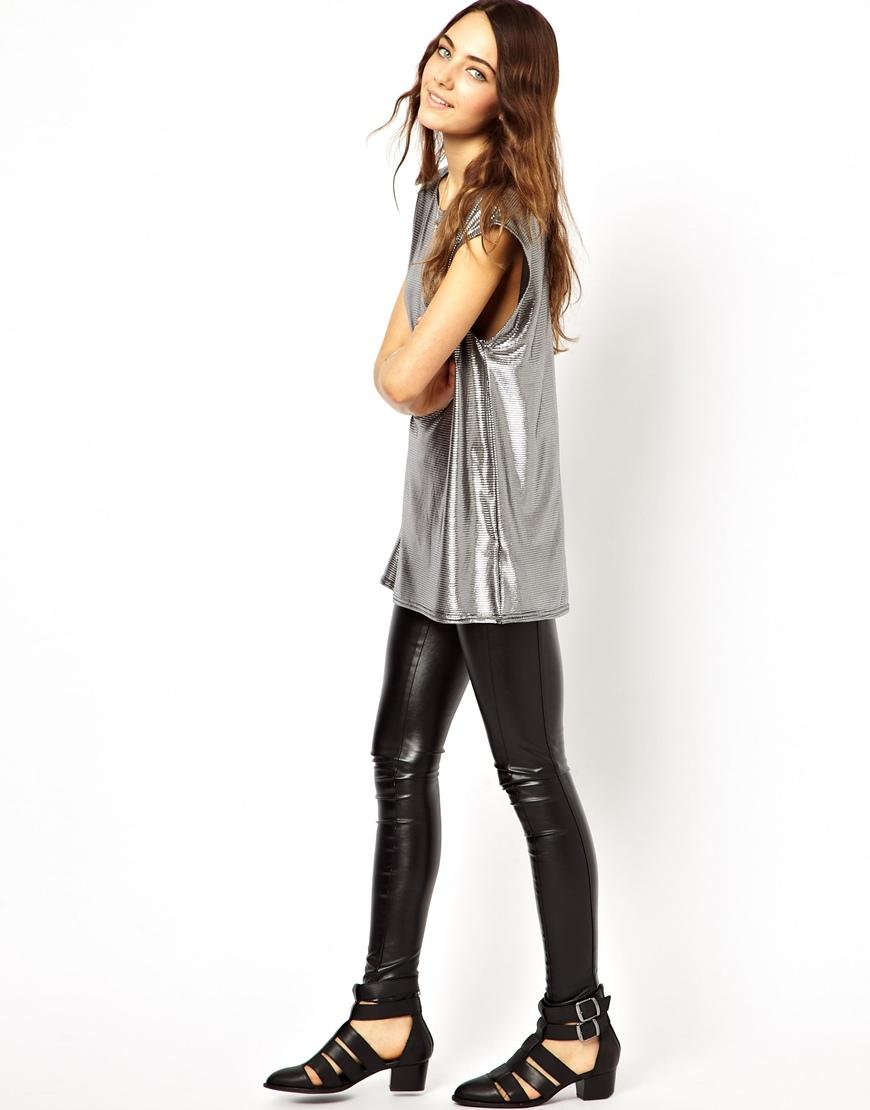 Asos t shirt in pleated metallic fabric in metallic lyst for Silver metallic shirt women s