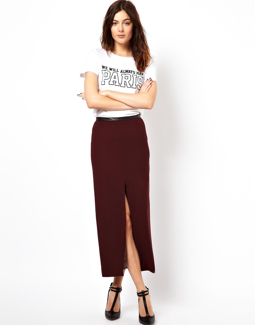 Asos Pencil Skirt with Split Front and Pu Waistband in Purple | Lyst