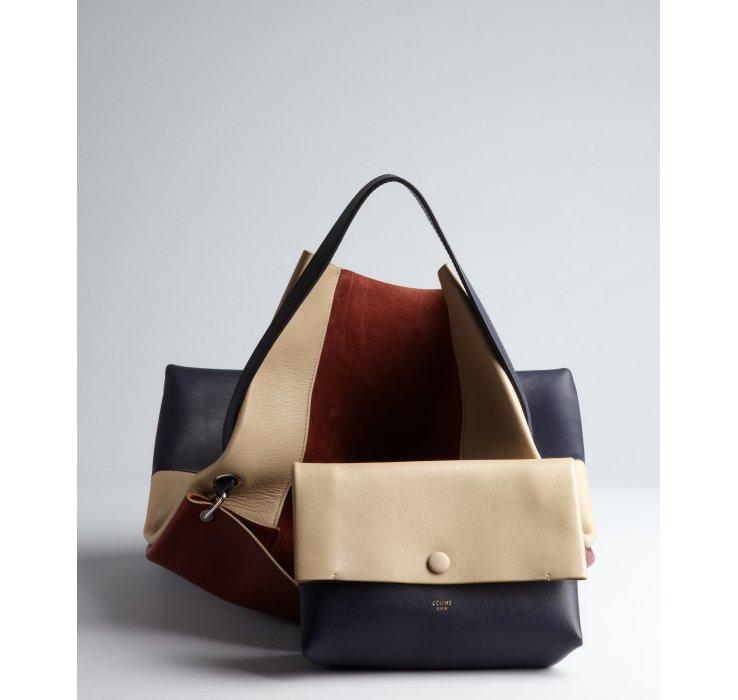 C¨¦line Beige Bordeaux and Navy Colorblocked Leather Shoulder Bag ...