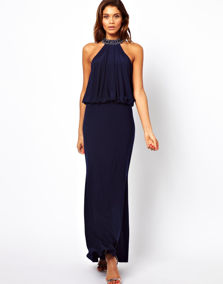 Forever unique Halter Maxi Dress with Embellished Neck in Blue - Lyst