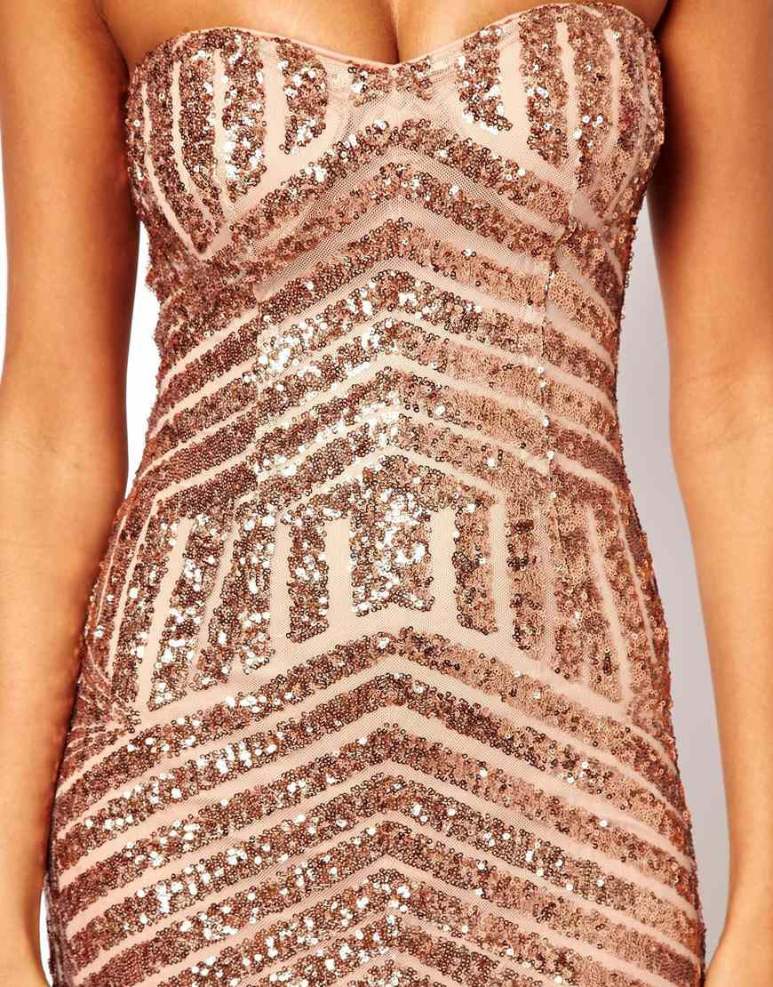 Forever Unique Bandeau Maxi Dress In Sequin In Pink Lyst