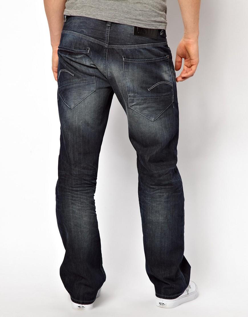 g star raw g star jeans low loose dark aged in blue for men lyst. Black Bedroom Furniture Sets. Home Design Ideas