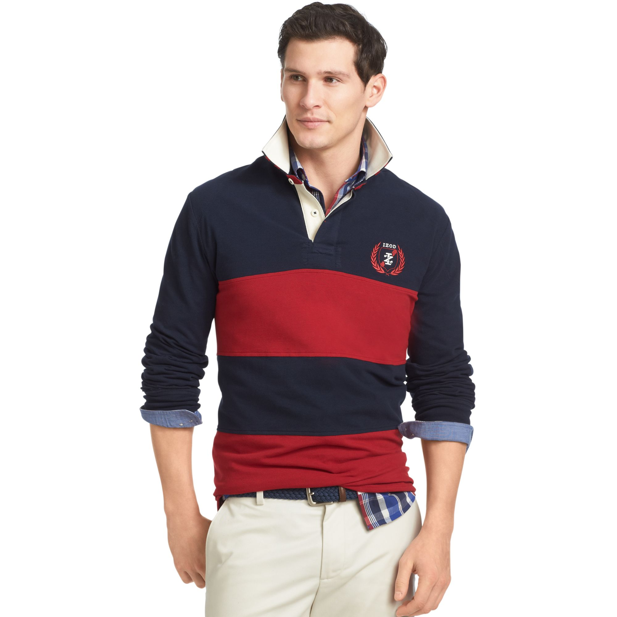 Izod Shirt Long Sleeve Striped Rugby Polo In Multicolor
