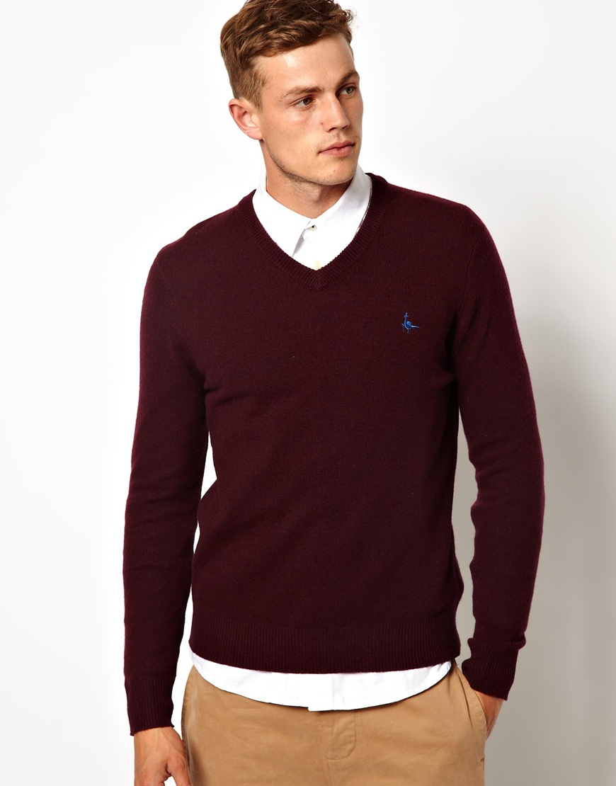 Onitsuka tiger Sweater with V Neck in Brown for Men   Lyst