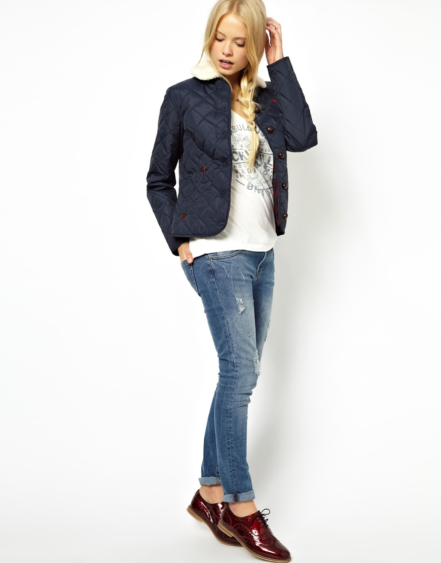 website for discount high fashion store Jack Wills Quilted Jacket with Shearling Collar