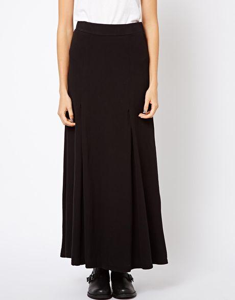 box pleat maxi skirt in black lyst