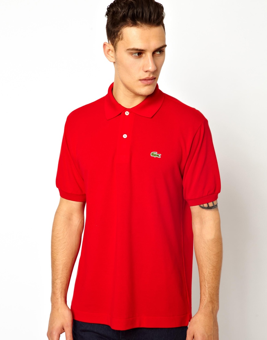Lyst lacoste polo shirt with crocodile in red for men Man in polo shirt