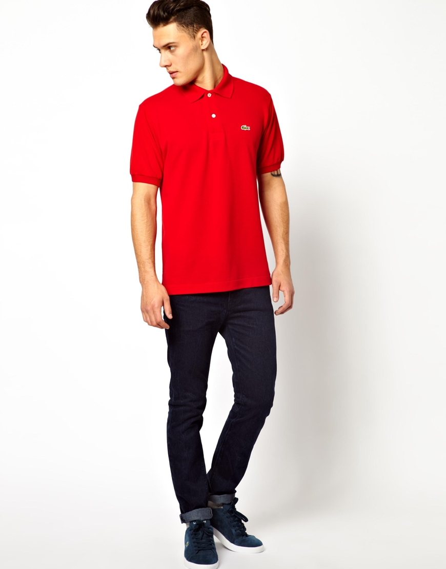 08a70f7fa8f80 Lyst - Lacoste Polo Shirt with Crocodile in Red for Men