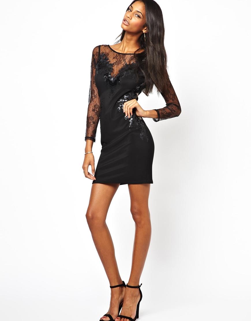 a10f0e8738fcd Lipsy Lace Trim Long Sleeve Bodycon Dress
