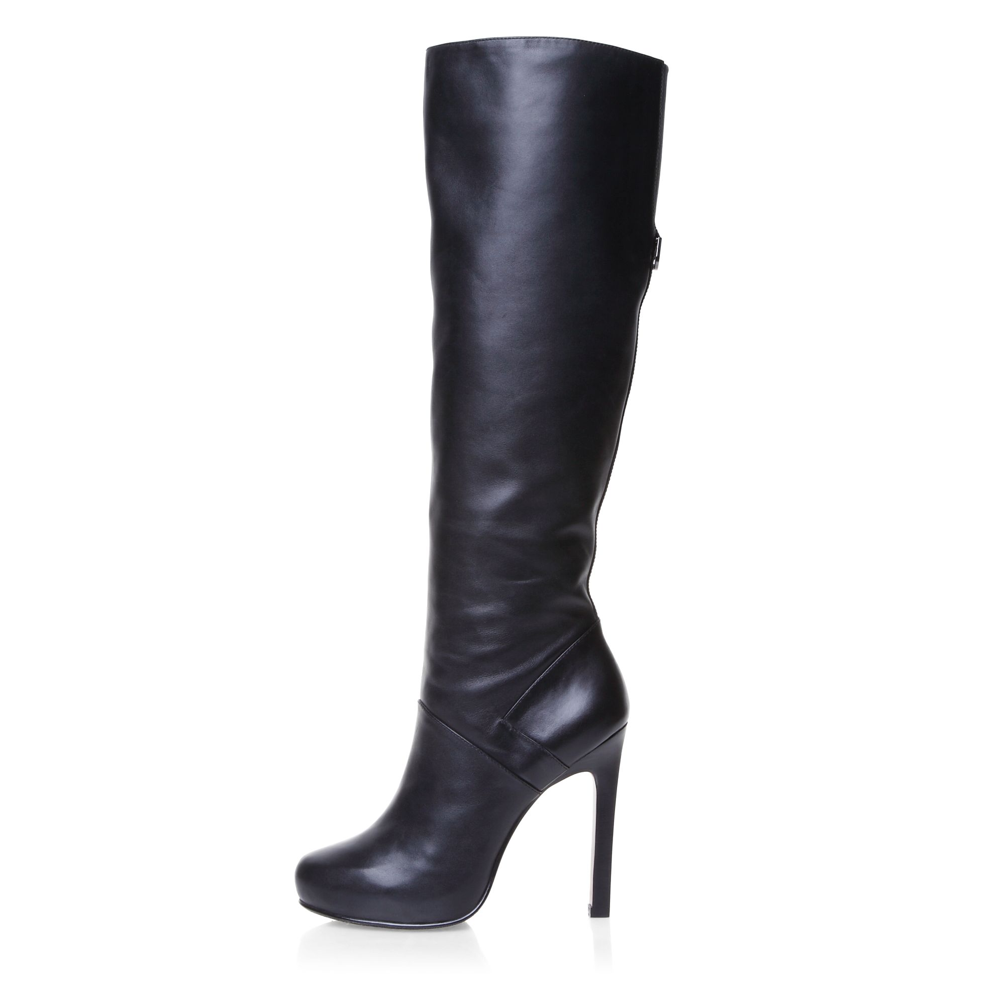 Mascotte Leather High Heeled High Leg Elegant Boots in Black