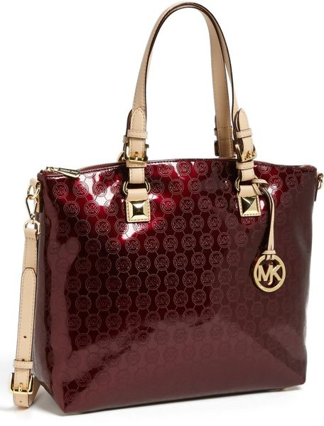 michael michael kors jet set satchel in red bordeaux lyst. Black Bedroom Furniture Sets. Home Design Ideas
