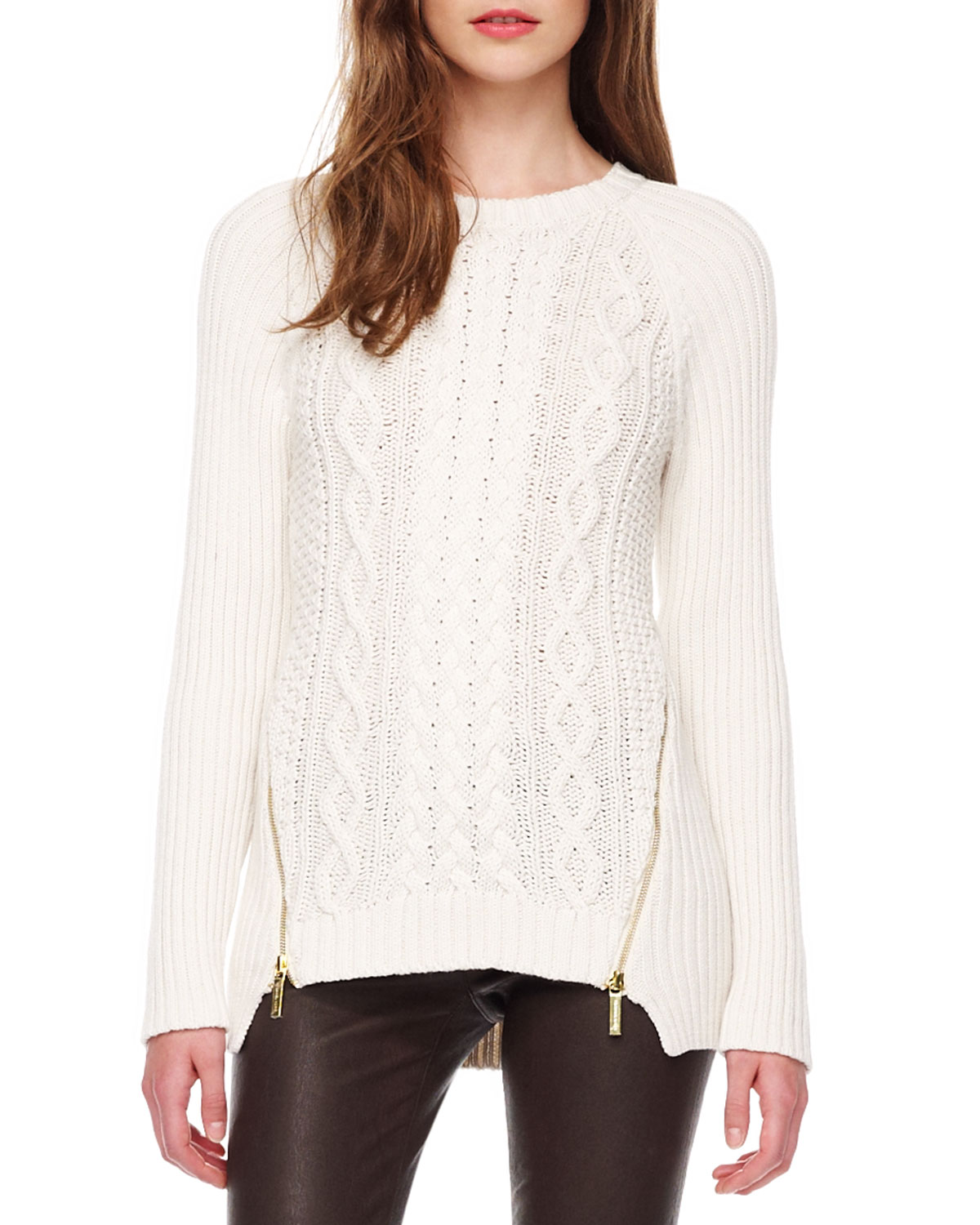 Lyst Michael Michael Kors Zipslit Cable Sweater In White
