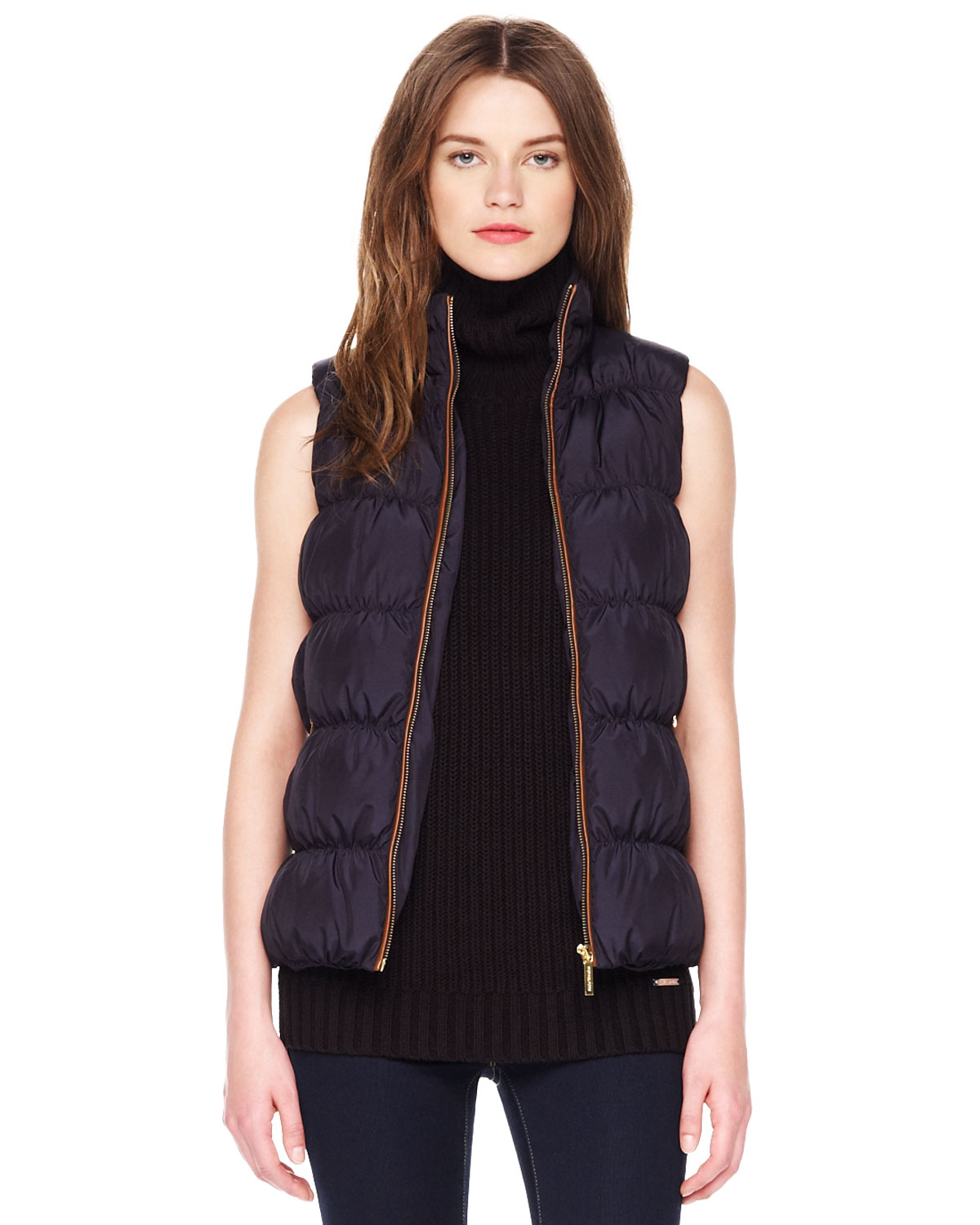 Michael Michael Kors Puffer Vest in Blue (DARK MIDNIGHT ...
