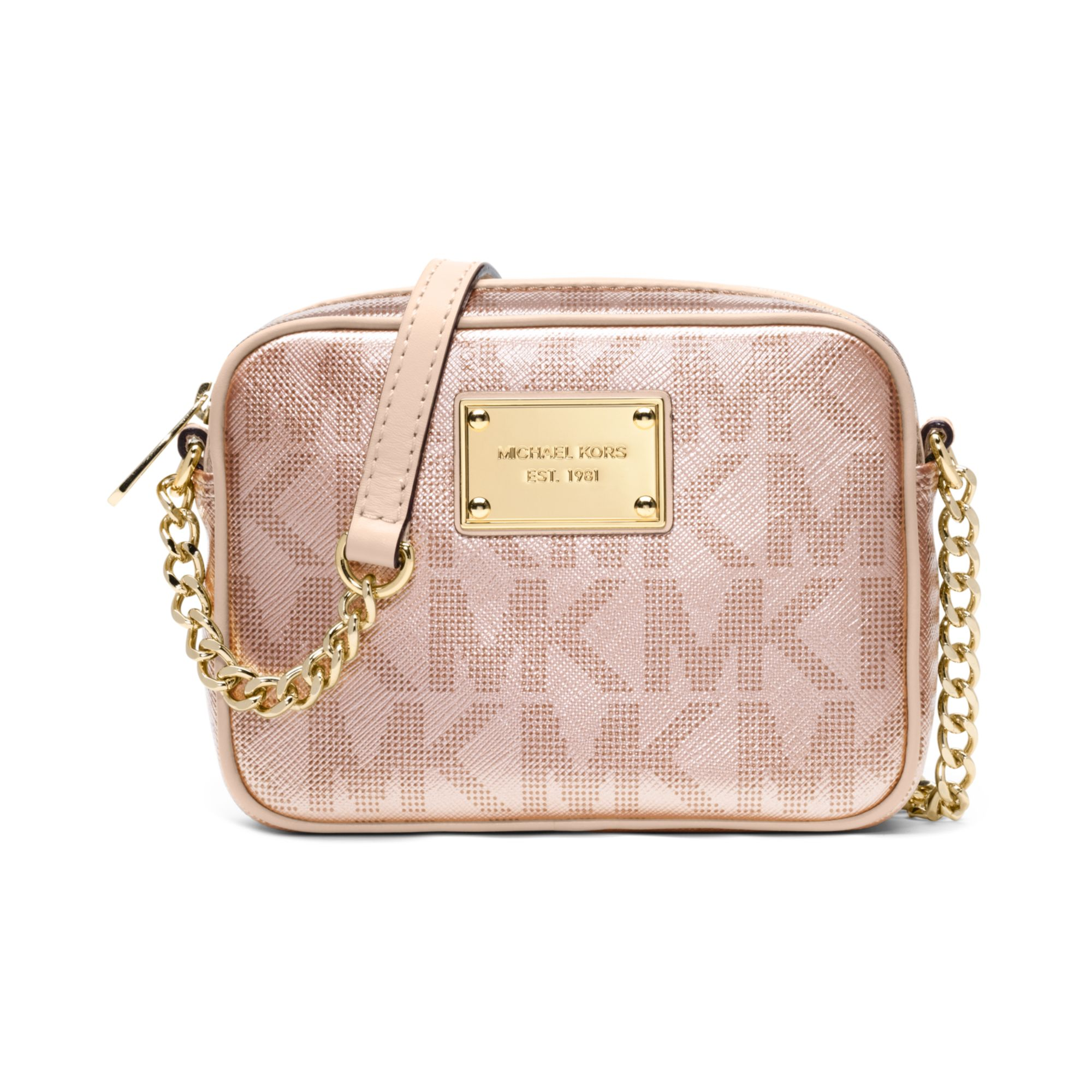 8434b8cf86 ... coupon for lyst michael kors signature metallic crossbody in pink 5f746  fb31b