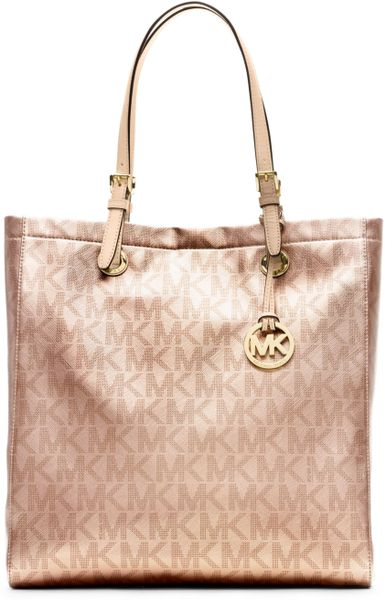 michael kors signature metallic north south tote in pink. Black Bedroom Furniture Sets. Home Design Ideas
